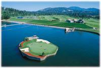 Floating Green at CDA Resort Golf Club
