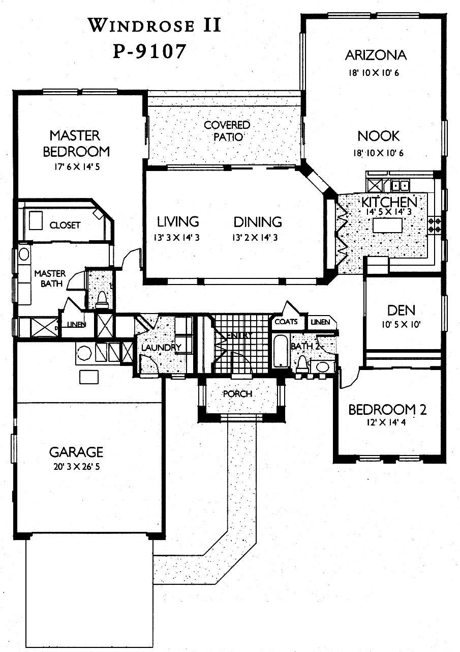 Sun City Grand Windrose II floor plan, Del Webb Sun City Grand Floor Plan Model Home House Plans Floorplans Models in Surprise Phoenix Arizona AZ Ken Meade Realty Kathy Anderson