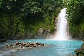 costa Rica blue river waterfall