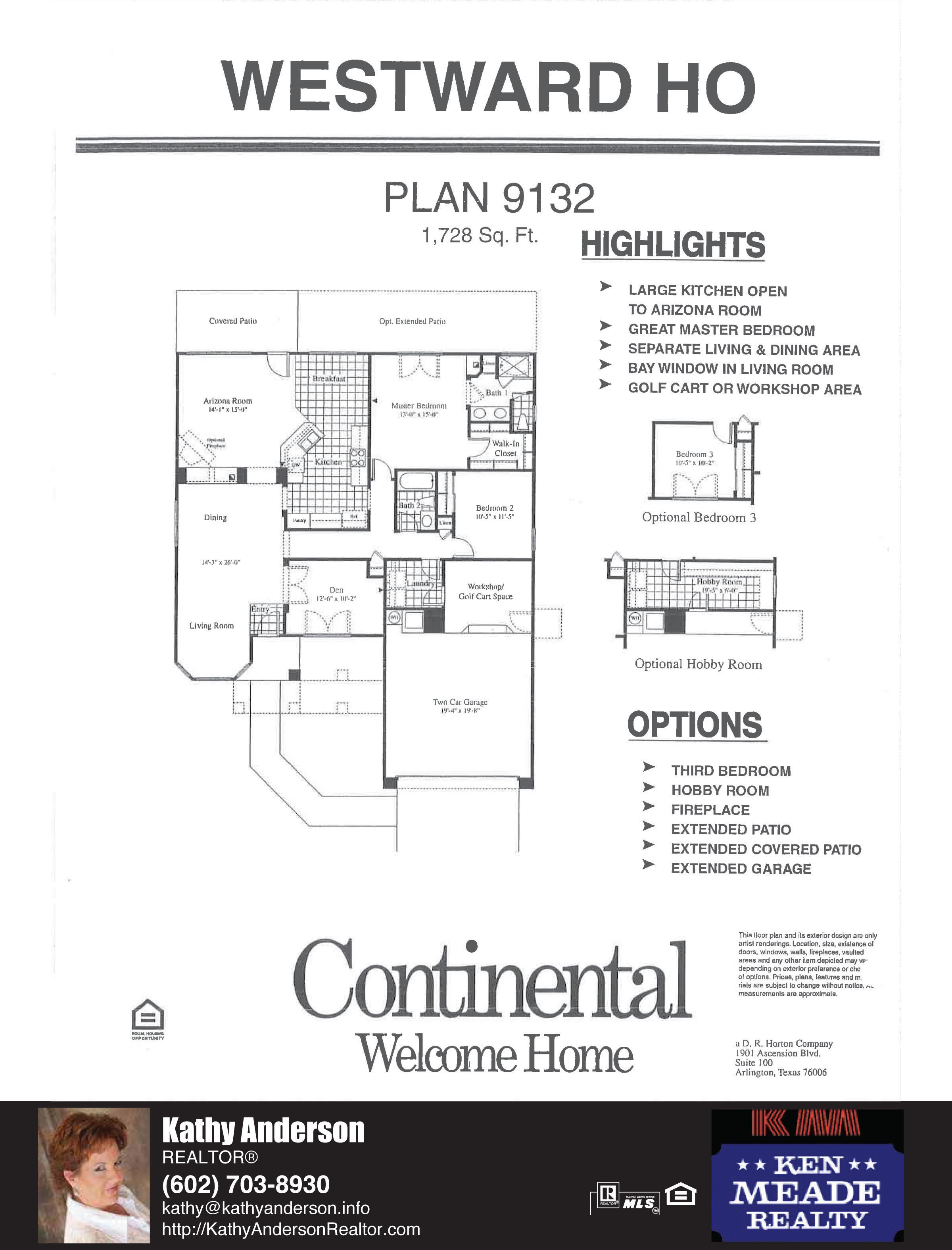 Arizona Traditions Westward Ho Floor Plan Model Home Plans Floorplans Models in Surprise Arizona AZ Top Ken Meade Realty Realtor agent Kathy Anderson