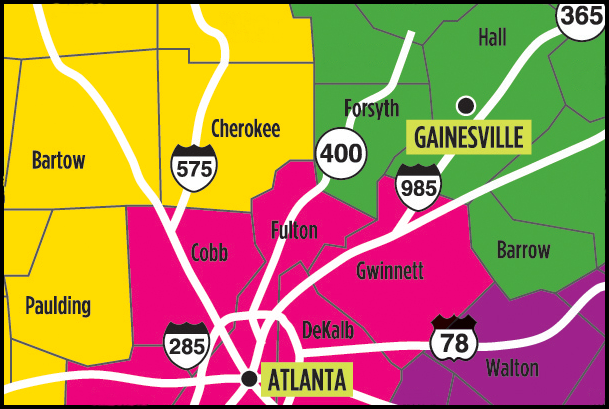 Map of North Atlanta and Surrounding Counties