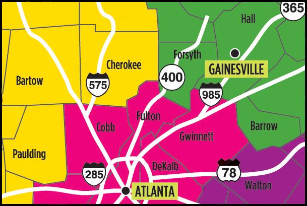 Map of North Atlanta and Surrounding Counties