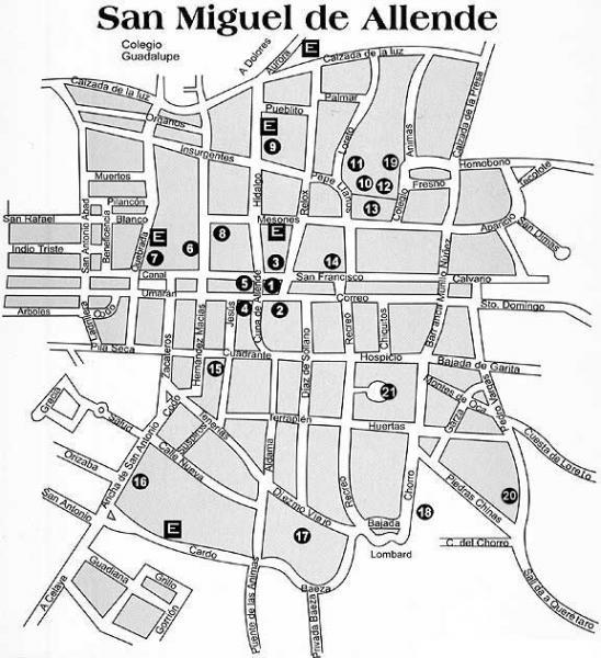 City Map of San Miguel de Allende, Mexico