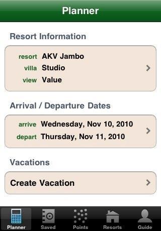DVC Planner App screenshot