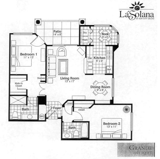 Sun City Grand La Solana Condo Grande Condominium Floor Plan Model ...