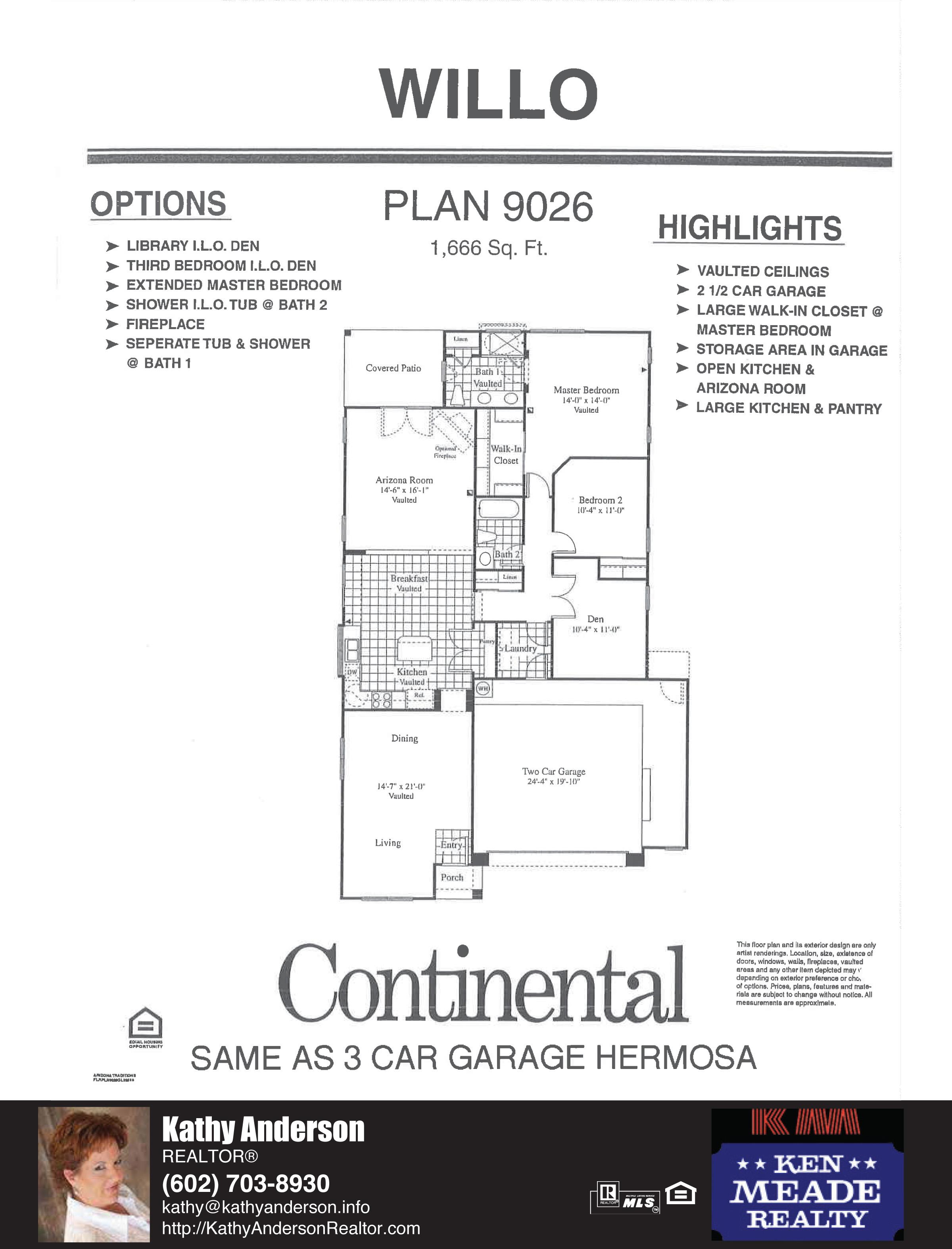 Arizona Traditions Willo Floor Plan Model Home Plans Floorplans Models in Surprise Arizona AZ Top Ken Meade Realty Realtor agent Kathy Anderson
