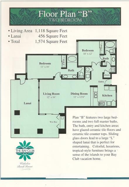 2 Bed B Floorplan Bay Club Timeshare Resales Hawaii