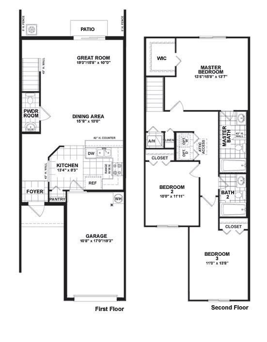 Two storey townhouse plans for Townhouse layout 3 bedrooms