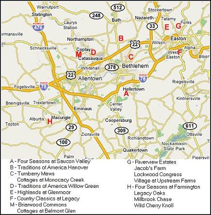 Lehigh Valley Zip Code Map.55 Plus Communities Map And Information Lehigh Valley Pa