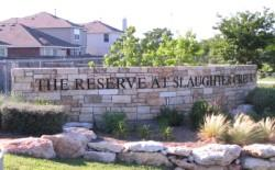 Reserve at Slaughter Creek entry sign.