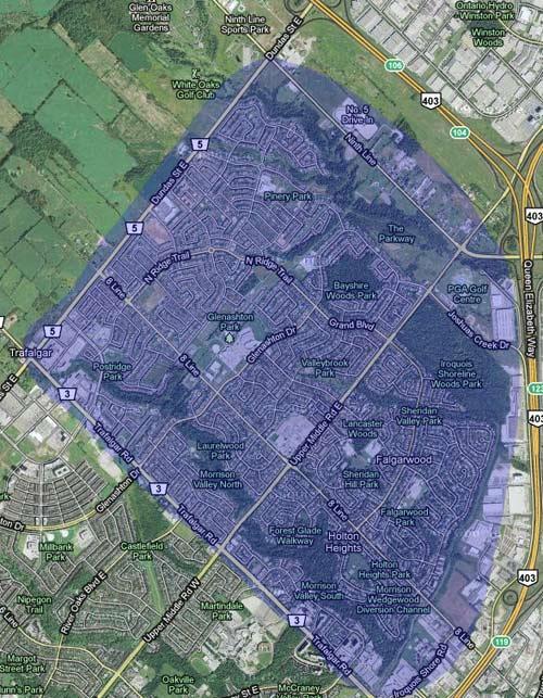 Oakville Homes for Sale Northeast Oakville Map