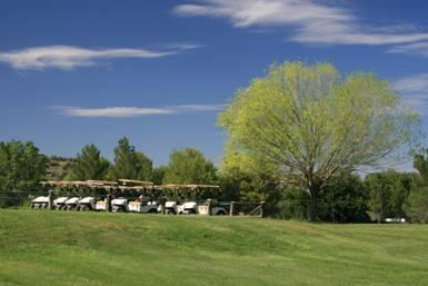 Golf Carts lined upand ready for a day's work at the Beaver Creek Golf Course, Lake Montezuma.  Beaver Creek is among the oldest golf courses in the state of Arizona.