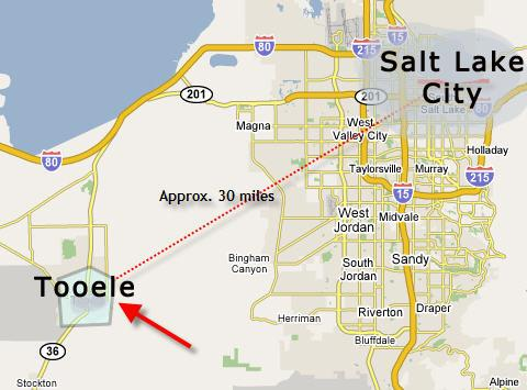 how far is Tooele from Salt Lake City? - 30 Miles