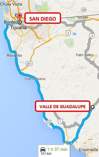 VALLE DE GUADALUPE DISTANCE TO THE SAN DIEGO BORDER