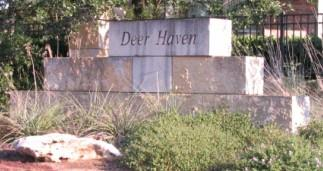Sign at the entry to South Austin's Deer Haven subdivision.