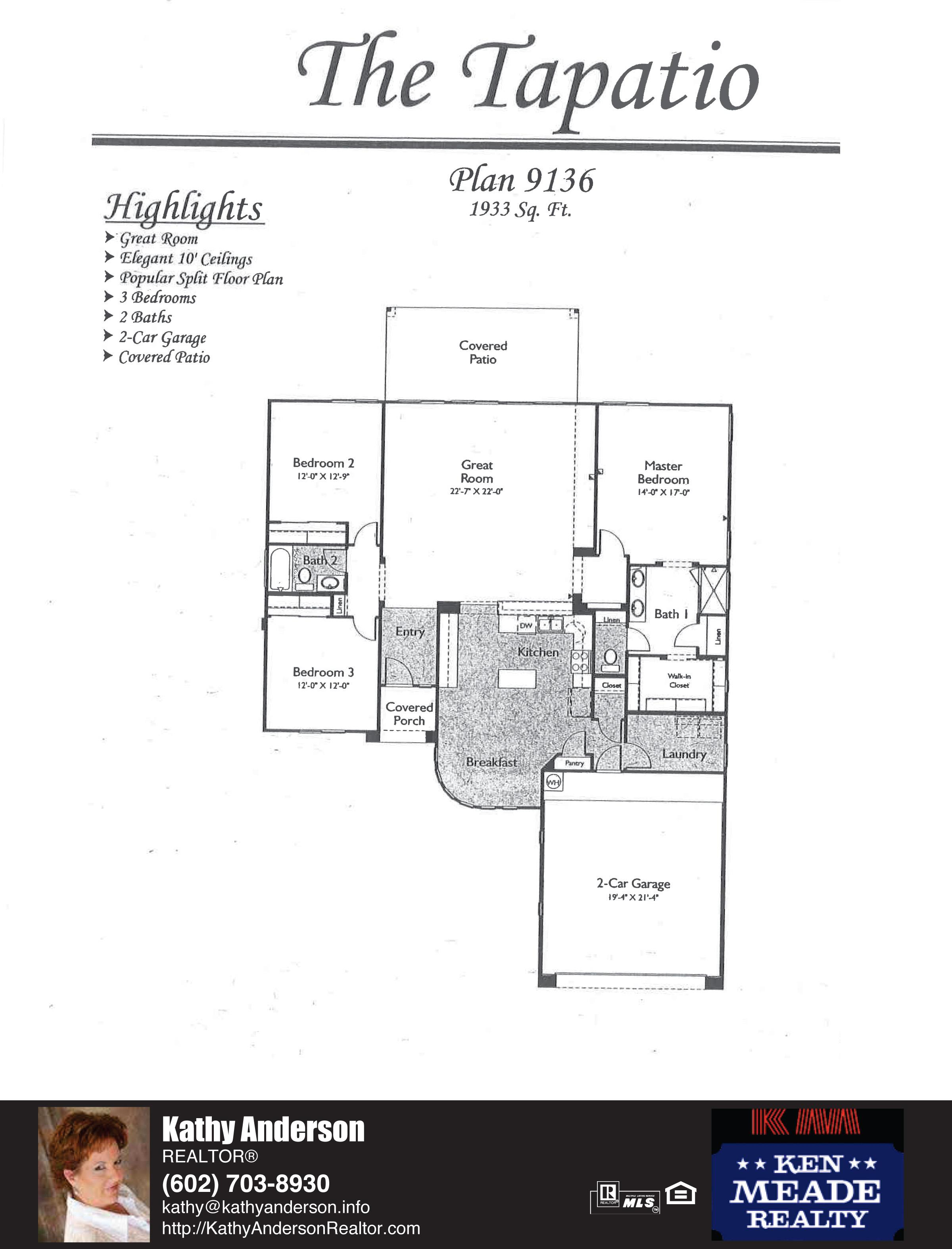 Arizona Traditions Tapatio Floor Plan Model Home Plans Floorplans Models in Surprise Arizona AZ Top Ken Meade Realty Realtor agent Kathy Anderson