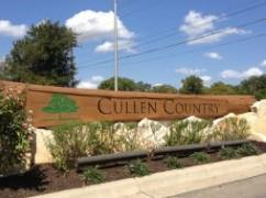 The rugged-look sign at the entrance to the Cullen Country subdivision in Buda, TX
