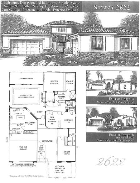 Sienna 2622 Floor Plans - Sun Lakes AZ