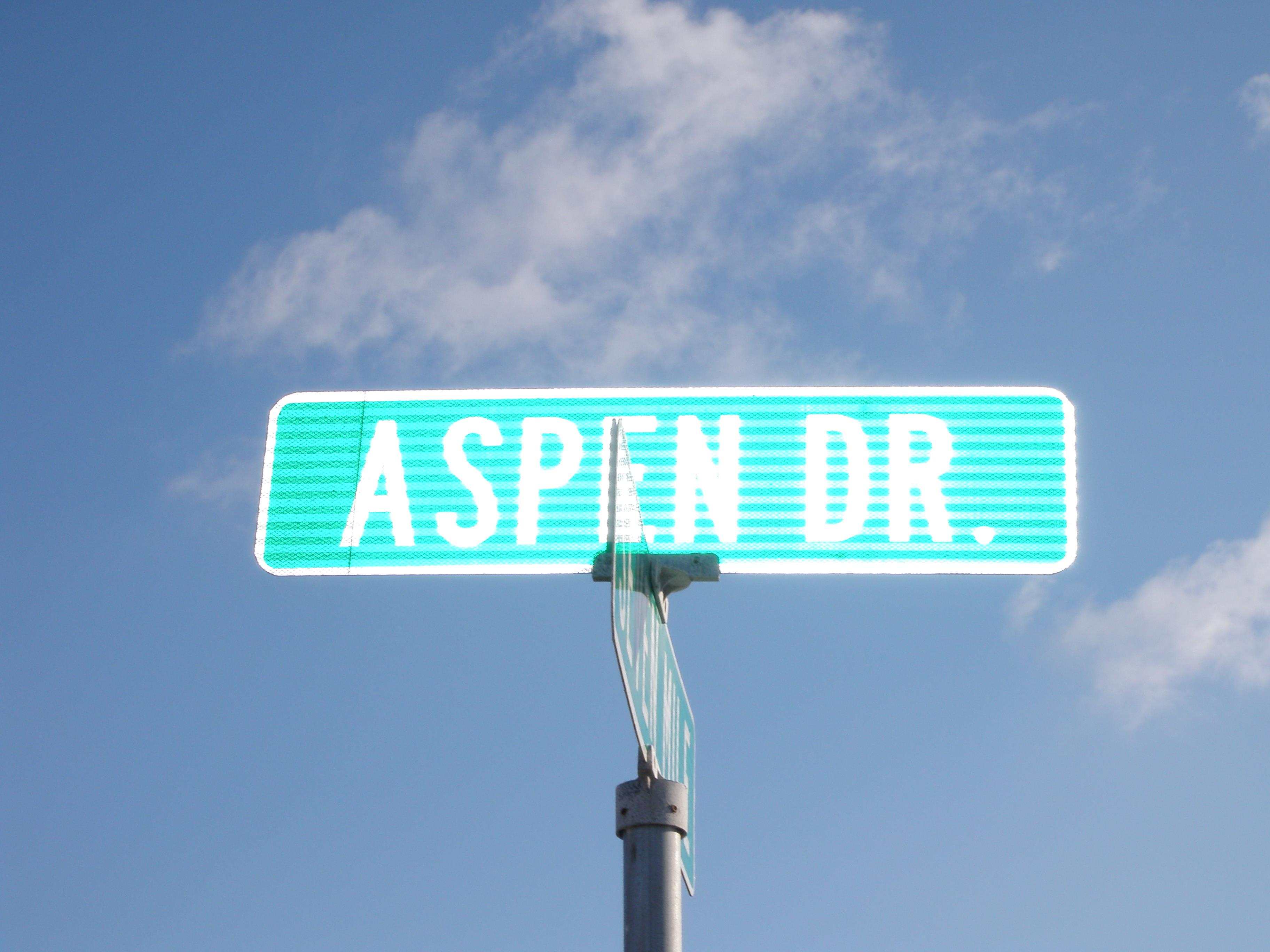 Aspen and 7 Mile street sign livonia michigan
