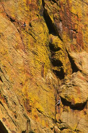 Climbers in Eldorado Canyon State Park.