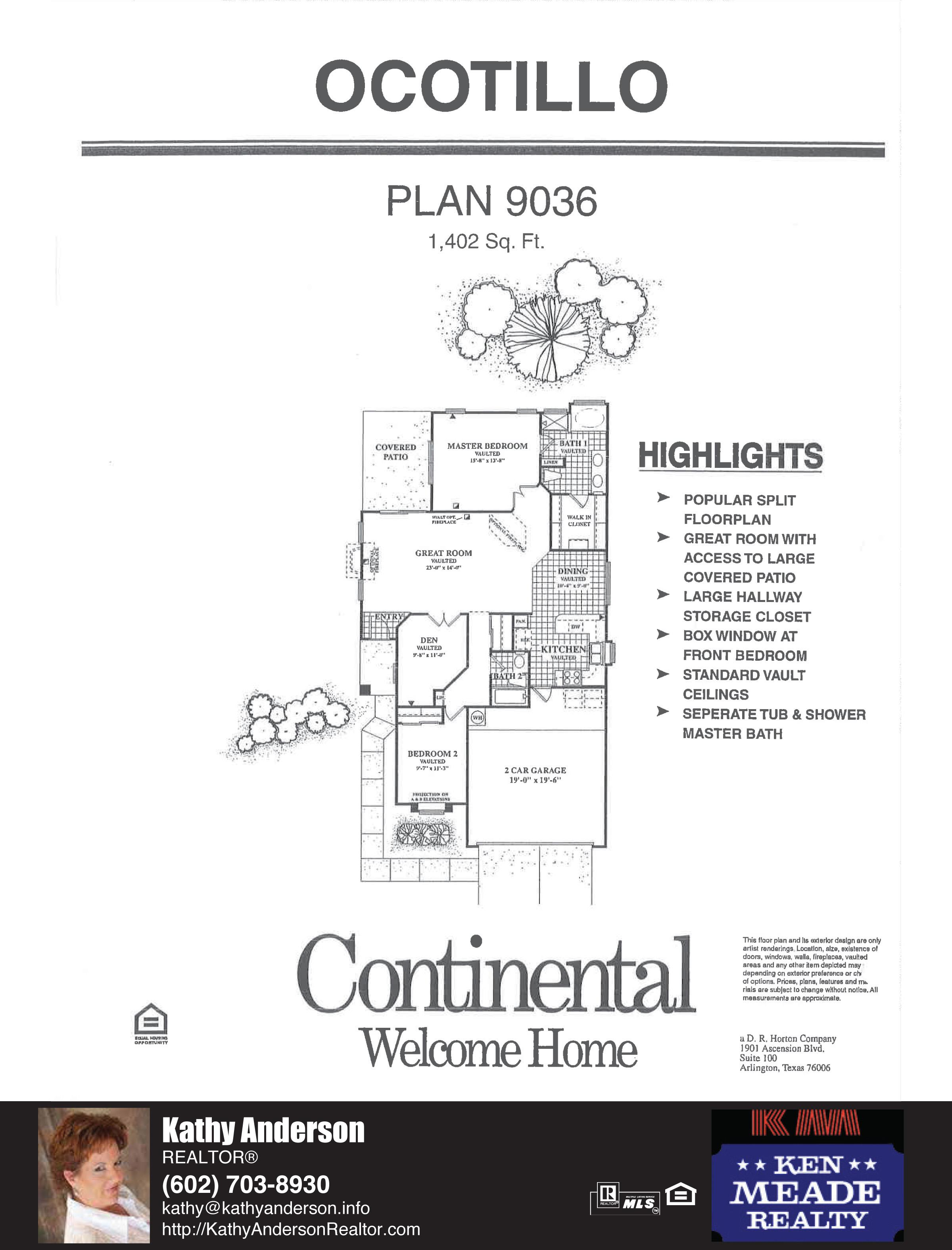 Arizona Traditions Ocotillo Floor Plan Model Home Plans Floorplans Models in Surprise Arizona AZ Top Ken Meade Realty Realtor agent Kathy Anderson