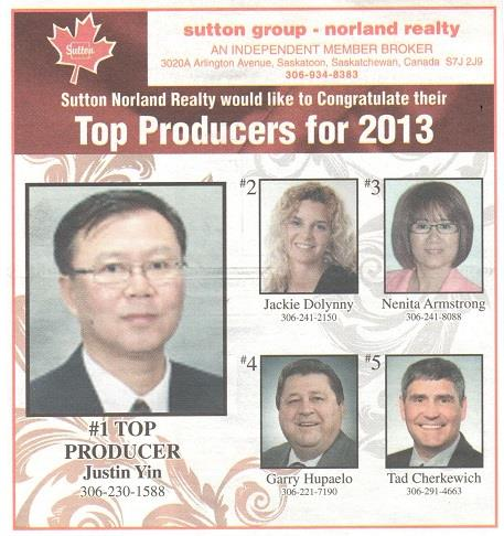 Justin Yin Top Producer 2013