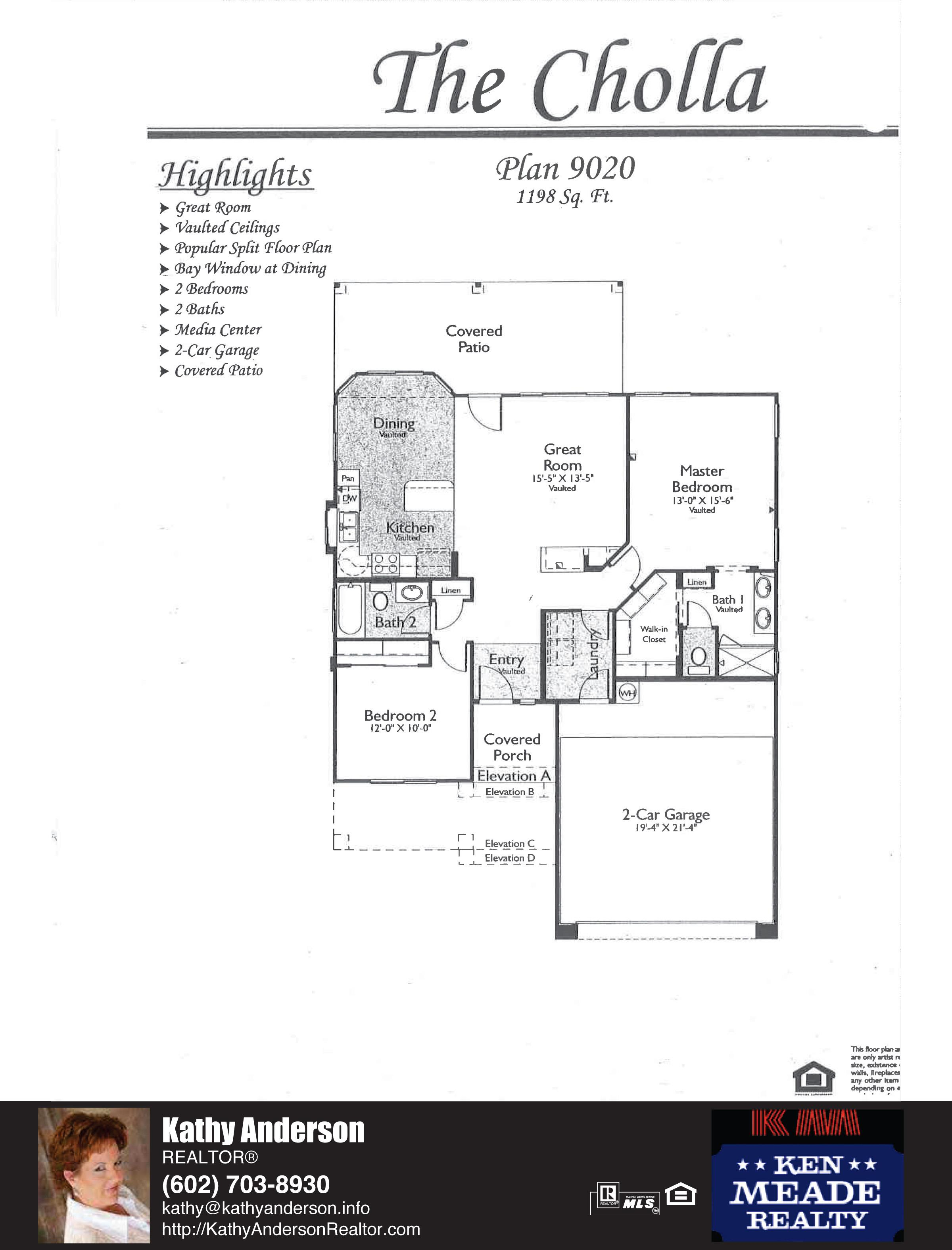 Arizona Traditions Cholla Floor Plan Model Home Plans Floorplans Models in Surprise Arizona AZ Top Ken Meade Realty Realtor agent Kathy Anderson