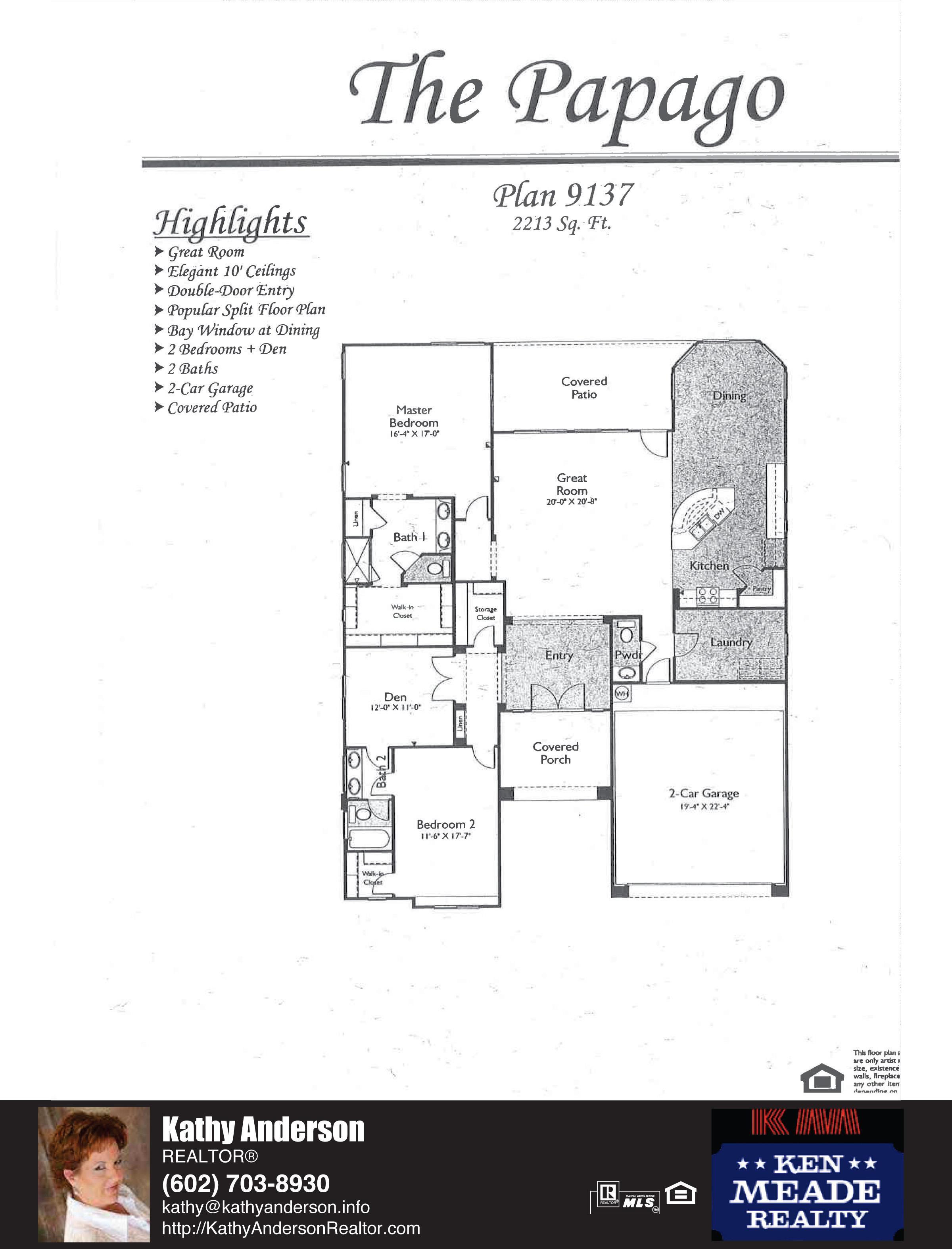 Arizona Traditions PapagoFloor Plan Model Home Plans Floorplans Models in Surprise Arizona AZ Top Ken Meade Realty Realtor agent Kathy Anderson