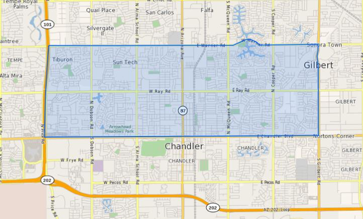 Chandler High School Homes for Sale Boundary Map
