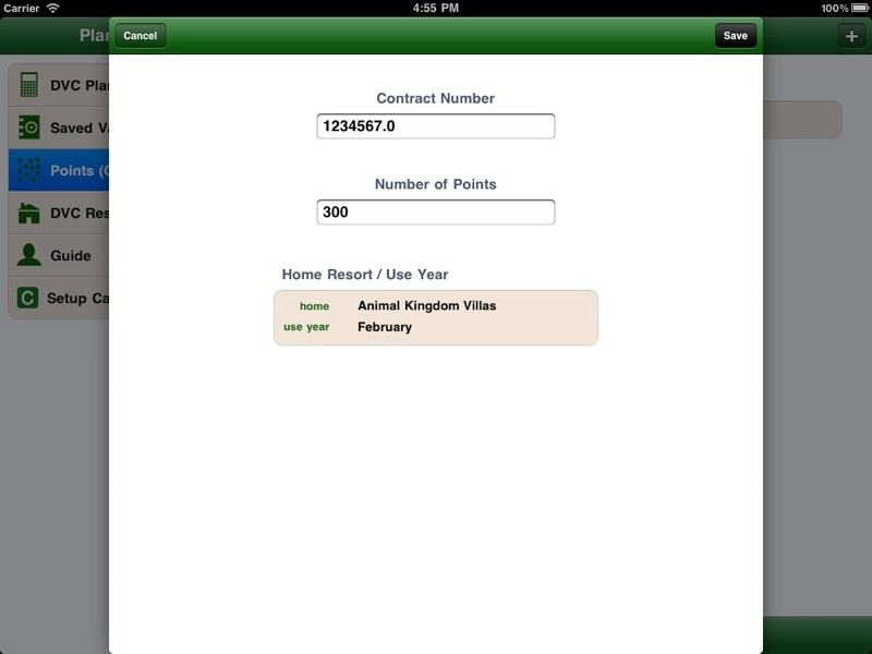 DVC Planner App for Ipad