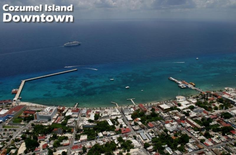 Aerial photograph Cozumel Downtown
