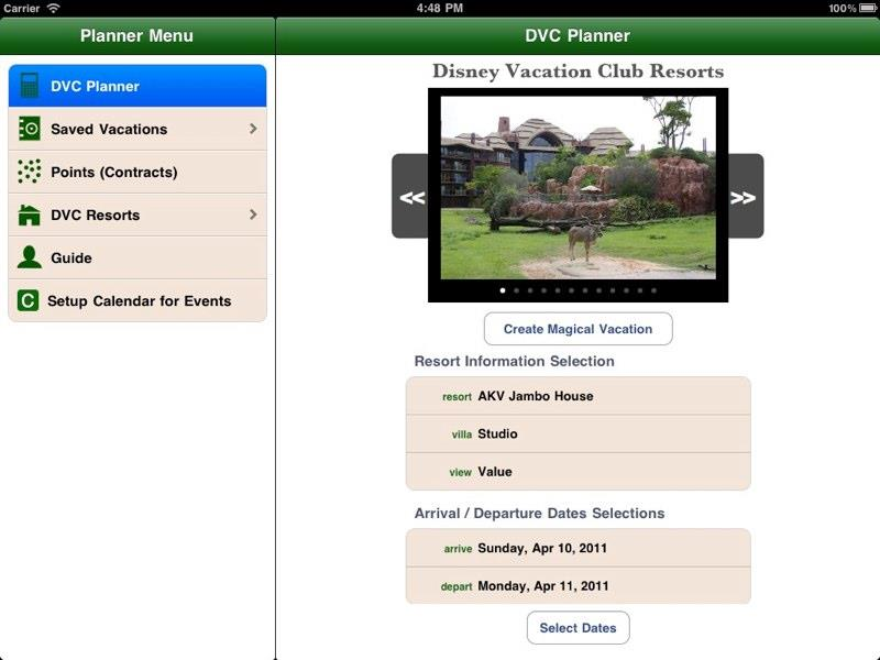 DVC Planner app for Ipad