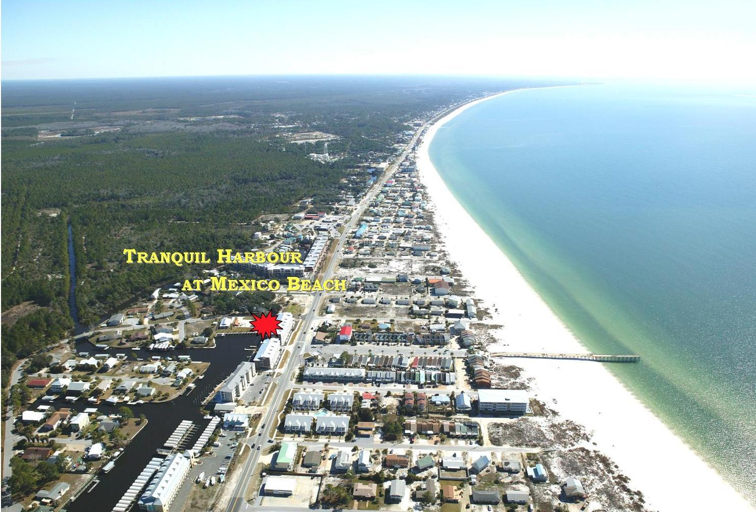 Aerial View of Tranquil Harbour Location at Mexico Beach Florida