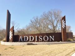 Sign at the entrance to the Addison subdivision in SE Austin