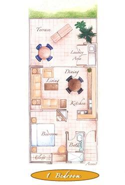 1 Bedroom Floor Plan - La Costa