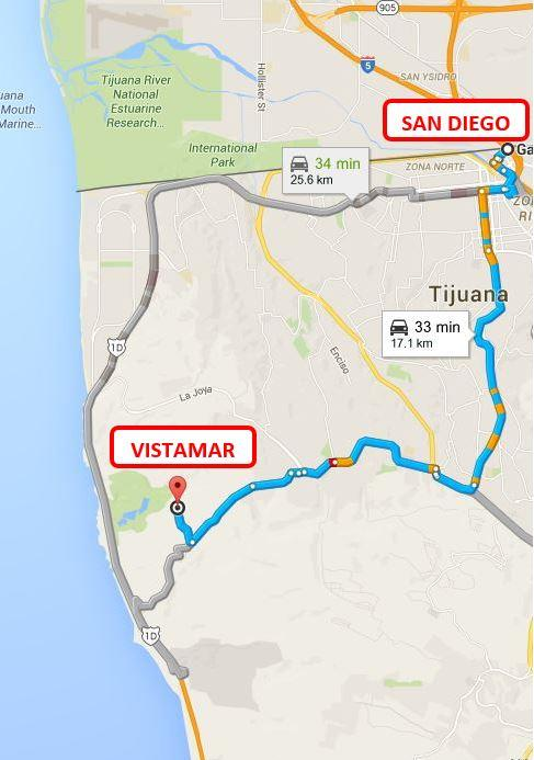 VISTAMAR DISTANCE FROM  SAN DIEGO BORDER