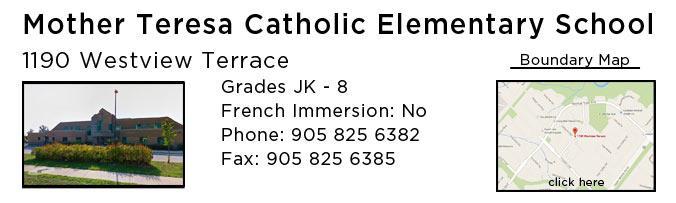 mother teresa catholic school oakville west oak trails
