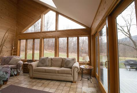 cedar paneled sunroom