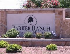 Barker Ranch at Shady Hollow sign at Brodie Lane in South-Southwest Austin.
