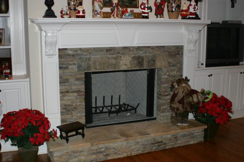 Stone with Wood Mantle
