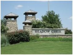 The entry to Shadow Creek subdivision in Buda, TX.