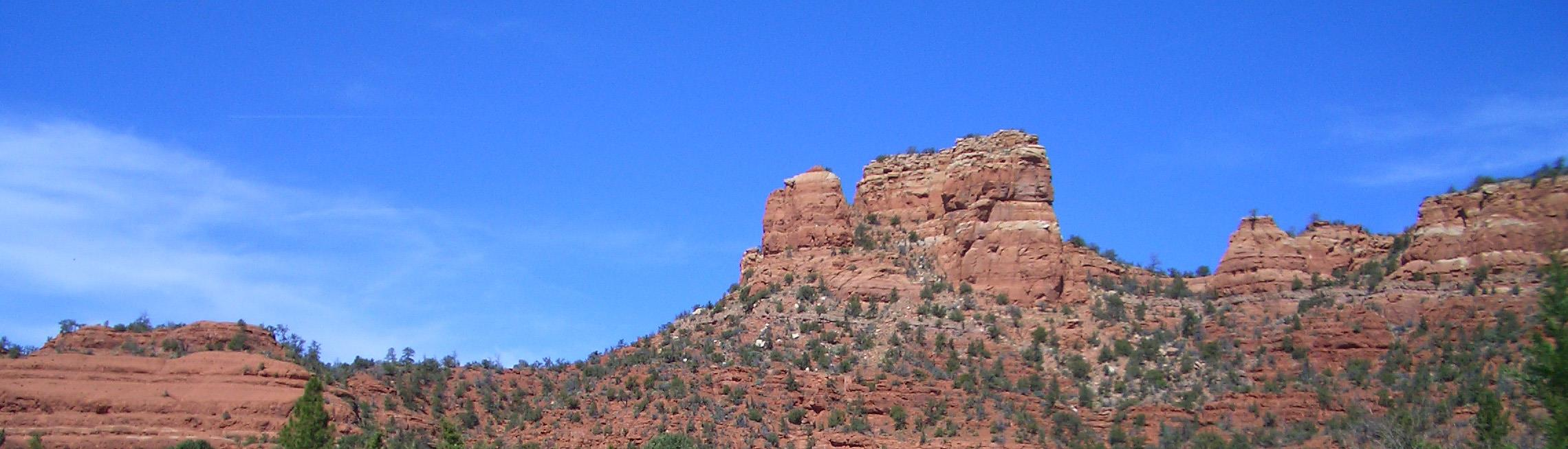 Sedona's Red Rocks are a striking red against the vivid blue Arizona skies.