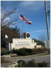 The southernmost entry to the Blackhawk subdivision in Pflugerville, Texas.